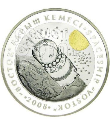 VOSTOK SPACESHIP Silver Tantalum Coin 500 Tenge Kazakhstan 2008
