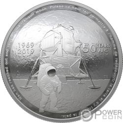 MOON LANDING 50th Anniversary Dome 1 Oz Silver Coin 25$ Canada 2019