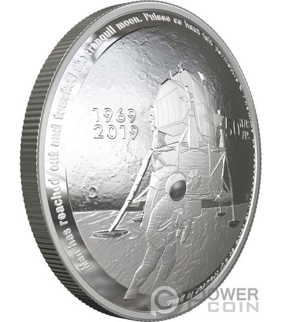 MOON LANDING 50th Anniversary Dome 1 Oz Silver Coin 25$ Canada 2019
