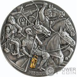 FOUR HORSEMEN Apokalypse 3 Oz Silber Münze 3000 Franken Cameroon 2019