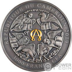 FOUR HORSEMEN Апокалипсис 3 Oz Серебро Монета 3000 Франки Камерун 2019