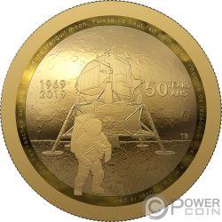 MOON LANDING 50 Aniversario Dome Moneda Oro 100$ Canada 2019