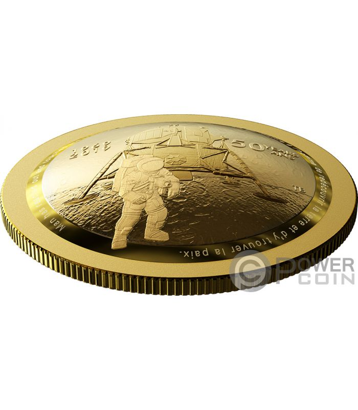 Moon Landing 50th Anniversary Dome Gold Coin 100 Canada 2019 Power Coin