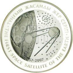 SPUTNIK FIRST SPACE SATELLITE Silver Tantalum Coin 500 Tenge Kazakhstan 2007
