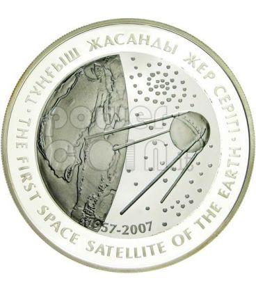 SPUTNIK PRIMO SATELLITE Moneta Argento Tantalio 500 Tenge Kazakistan 2007