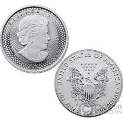 PRIDE OF TWO NATIONS Orgullo Set 2x1 Oz Monedas Plata 5$ 1$ Canada USA 2019