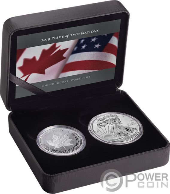 PRIDE OF TWO NATIONS Orgullo Set 2x1 Oz Monedas Plata 5$ 1$ Canada USA 2019
