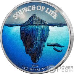 WATER Acqua Source of Life 1 Oz Moneta Argento 1000 Franchi Benin 2019