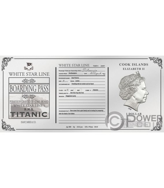 TITANIC Rose Ticket Folie Silber Note 1$ Cook Islands 2019