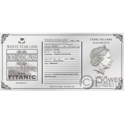 TITANIC Rose Pasaje Foil Billete Plata 1$ Cook Islands 2019