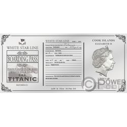 TITANIC Rose Ticket Foil Silver Note 1$ Cook Islands 2019