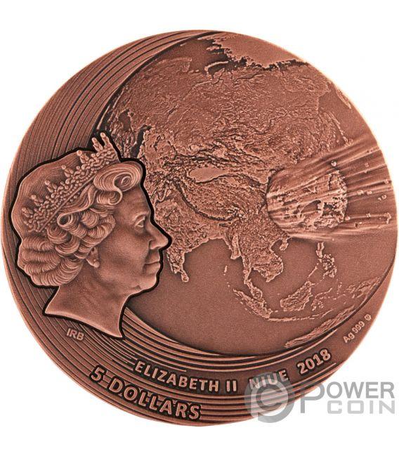 FUKANG World of Meteorites Copper Plating 2 Oz Silver Coin 5$ Niue 2018