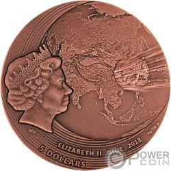 FUKANG World of Meteorites Copper Plating 2 Oz Silver Coin 5$ Niue 2018
