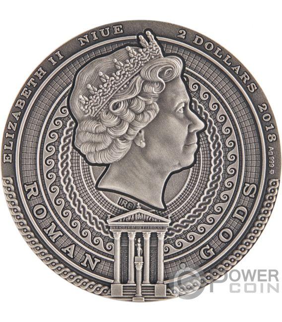 BELLONA Римские боги 2 Oz Монета Серебро 2$ Ниуэ 2018