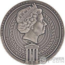 BELLONA Roman Gods 2 Oz Moneda Plata 2$ Niue 2018