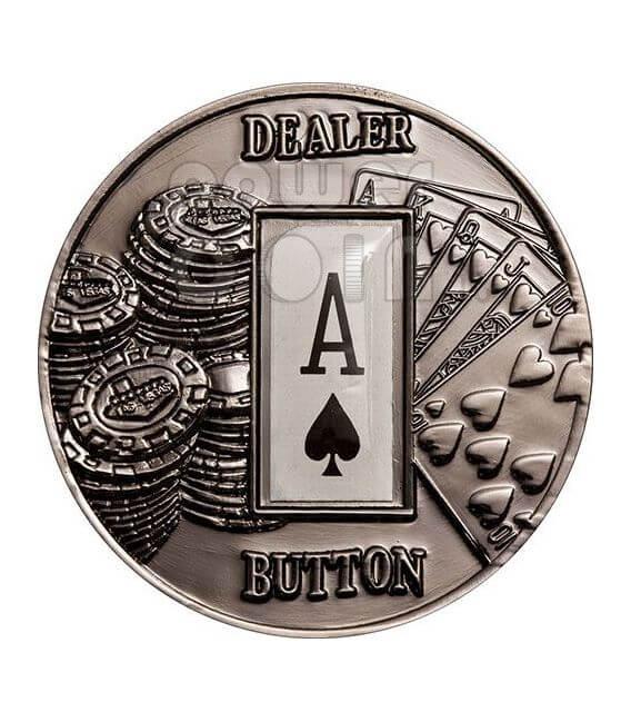 POKER DEALER BUTTON Spades Texas Hold'em Монета 1$ Палау 2008