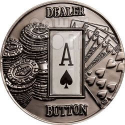 POKER DEALER BUTTON Picche Texas Hold'em Moneta 1$ Palau 2008