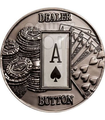 POKER DEALER BUTTON Spades Texas Hold'em Coin 1$ Palau 2008
