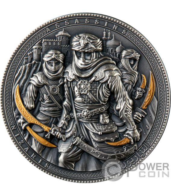 NIZARIS Assassins Vergoldung 2 Oz Silber Münze 5$ Niue 2019