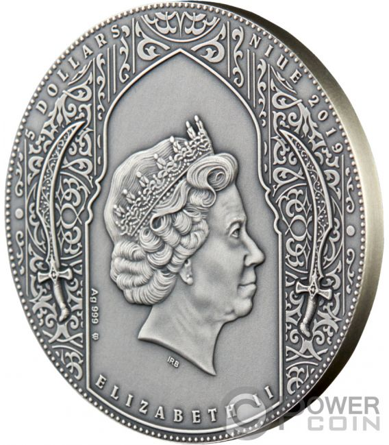 NIZARIS Assassins Gold Plating 2 Oz Silver Coin 5$ Niue 2019