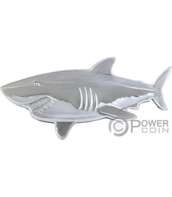 GREAT WHITE SHARK Hunters of the Deep 1 Oz Silver Coin 2$ Solomon Islands 2019