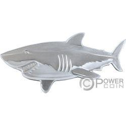 GREAT WHITE SHARK weißer Hai Hunters of the Deep 1 Oz Silber Münze 2$ Solomon Islands 2019