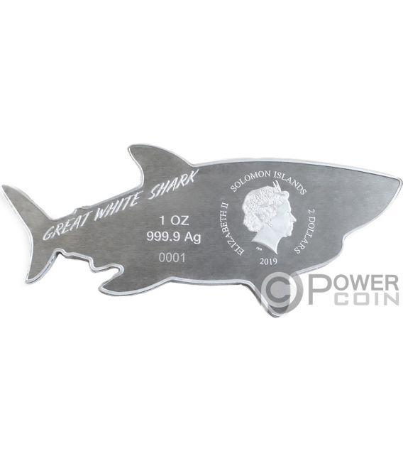 GREAT WHITE SHARK Белая Акула Подводные Охотники   1 Oz  Соломоновы Острова 2$  2019