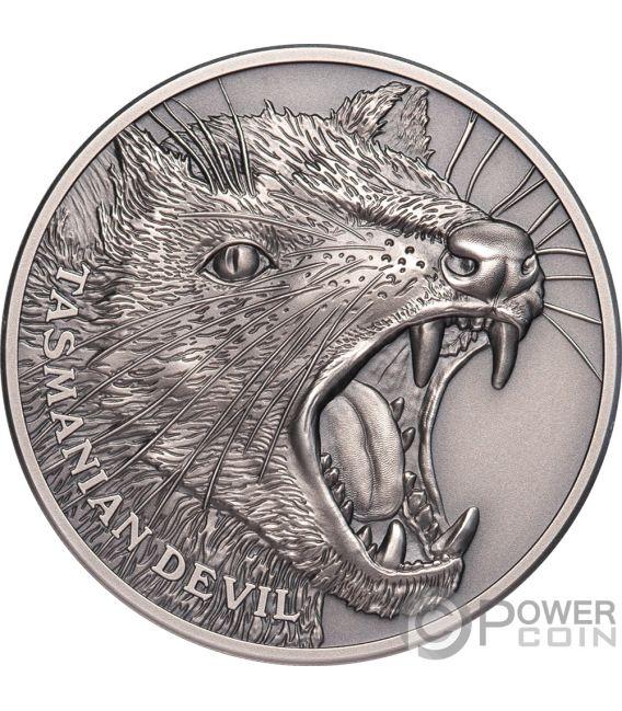 TASMANIAN DEVIL Beutelteufel Wildlife Up Close 1 Oz Silber Münze 1$ Niue 2019