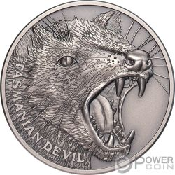 TASMANIAN DEVIL Diablito Wildlife Up Close 1 Oz Moneda Plata 1$ Niue 2019