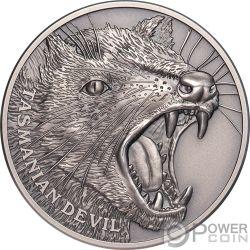 TASMANIAN DEVIL Дьявол Wildlife Up Close 1 Oz Монета Серебро 1$ Ниуэ 2019