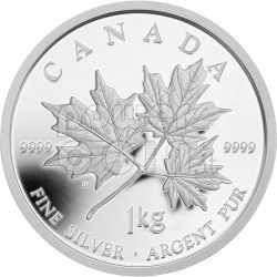 MAPLE LEAF FOREVER 1 Kg Kilo Foglia Acero Moneta Argento 250$ Canada 2011