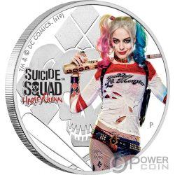 HARLEY QUINN Suicide Squad Dc Comics 1 Oz Moneda Plata 1$ Tuvalu 2019