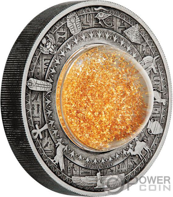 GOLDEN TREASURES OF ANCIENT EGYPT Tesoros 2 Oz Moneda Plata 2$ Tuvalu 2019