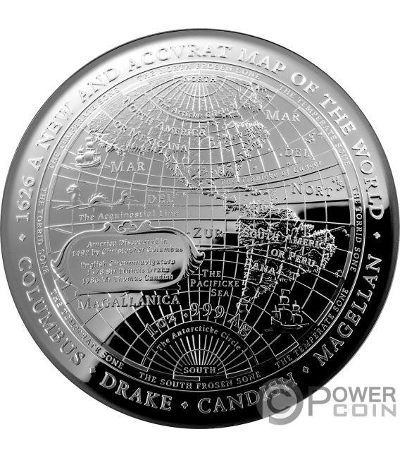 1626 A NEW MAP OF THE WORLD Weltkarte Terrestrial Dome 1 Oz Silber Münze 5$ Australia 2019