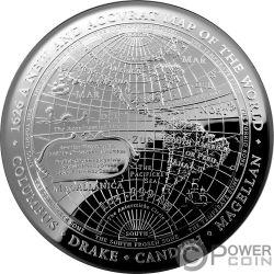 1626 A NEW MAP OF THE WORLD Карта Мира Terrestrial Dome 1 Oz Монета Серебро 5$ Австралия 2019