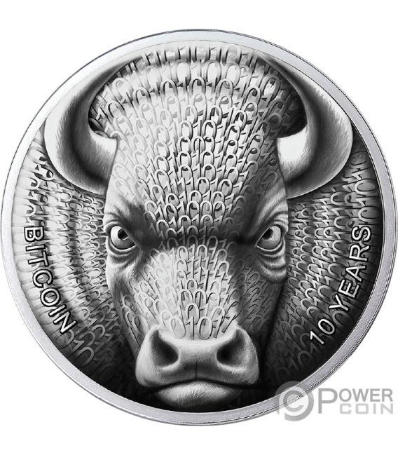 BINARY BULL Sol Noctis 10th Anniversary Bitcoin 1 Oz Silver Coin 1 BTC Cent 2019