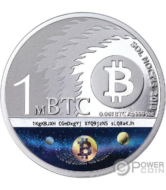 BINARY BULL Sol Noctis 10 Anniversario Bitcoin 1 Oz Silver Coin 1 mBTC 2019