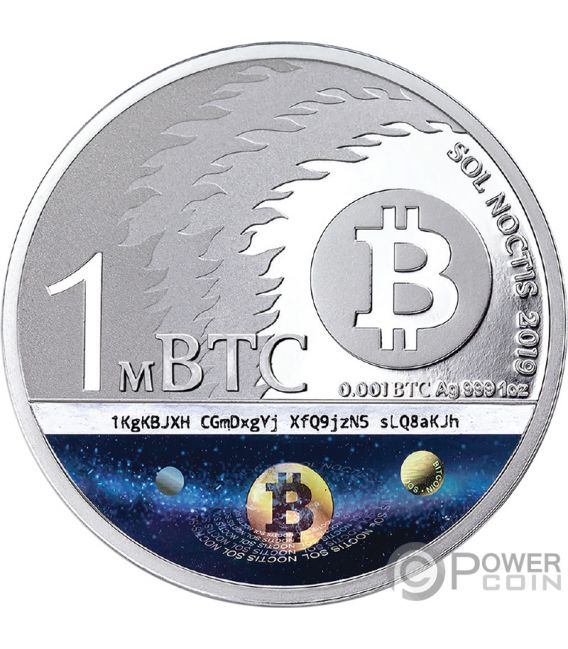 BINARY BULL Sol Noctis 10 Jahrestag Bitcoin 1 Oz Silver Coin 1 mBTC 2019
