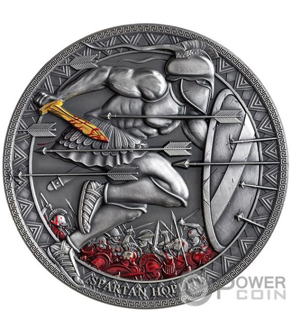 SPARTAN HOPLITE Legendary Warriors 3 Oz Silver Coin 3000 Francs Cameroon 2019