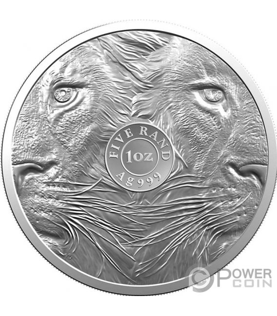 BIG FIVE With Privy Lion Krugerrand Set 2x1 Oz Silver Coins 6 Rand South Africa 2019