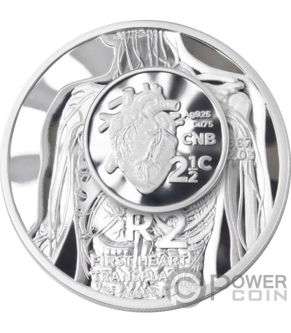HEART TRANSPLANT R2 50 Aniversario 1 Oz Moneda Plata 2 Rand South Africa 2017