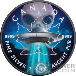 UFO Ovni Hoja Arce Maple Leaf 1 Oz Moneda Plata 5$ Canada 2018