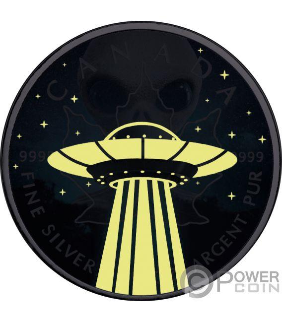 UFO Foglia Acero Maple Leaf 1 Oz Moneta Argento 5$ Canada 2018