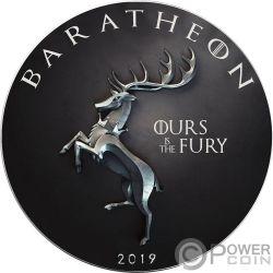 BARATHEON Nuestra Furia Game of Thrones GOT Walking Liberty 1 Oz Moneda Plata 1$ USA 2019