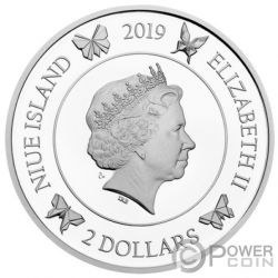 GOOD LUCK Butterfly 1 Oz Silver Coin 2$ Niue 2019