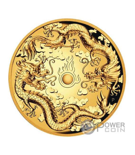 DOUBLE DRAGON 2 Oz Gold Münze 200$ Australia 2019