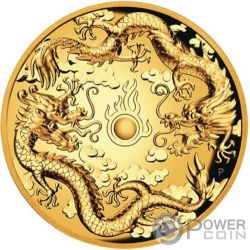 DOUBLE DRAGON 2 Oz Moneda Oro 200$ Australia 2019