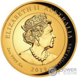 DOUBLE DRAGON 2 Oz Gold Coin 200$ Australia 2019