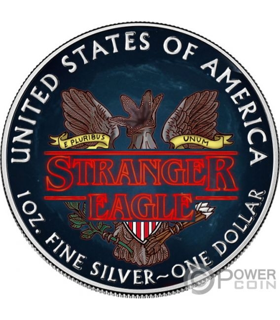 STRANGER EAGLE Demogorgon Things Walking Liberty 1 Oz Moneda Plata 1$ USA 2019