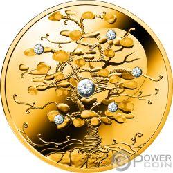 TREE OF LUCK Arbol Suerte Diamante 1.5 Oz Moneda Oro 100$ Niue 2019